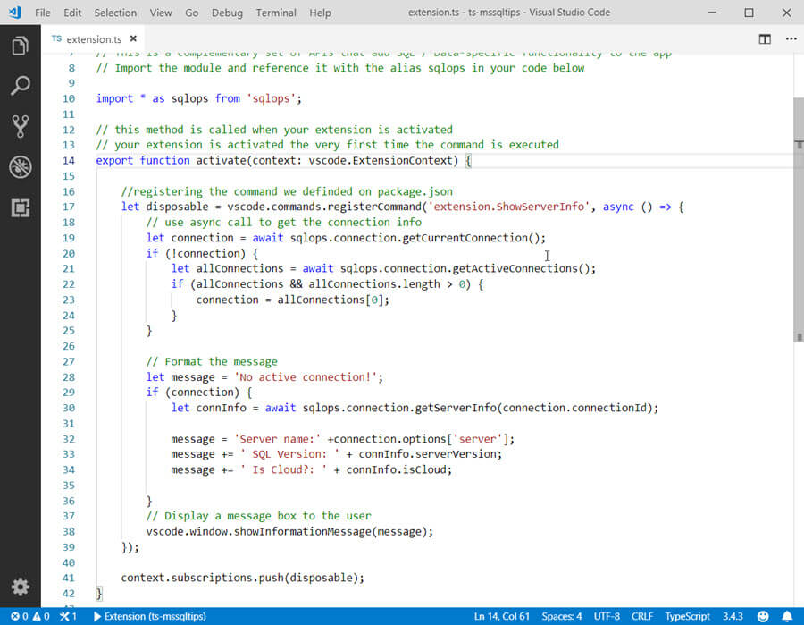 extension.ts with the new code