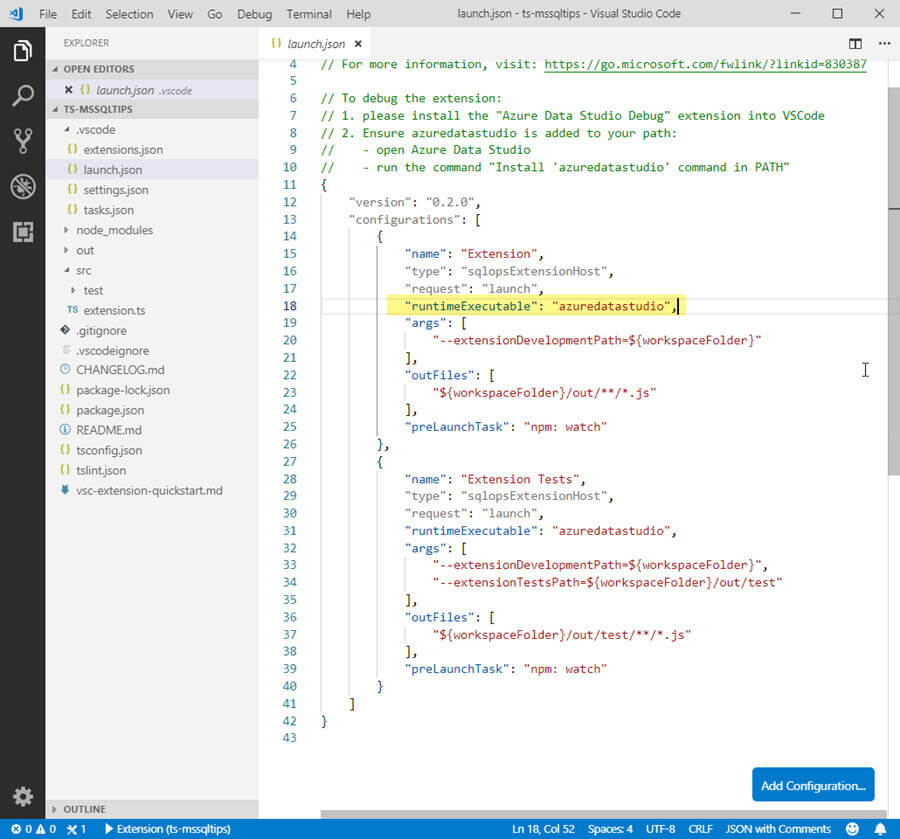 VSCode launch.json properties