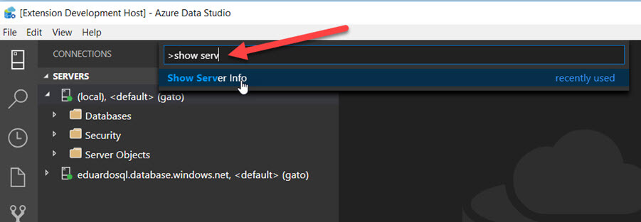 Azure Data Studio extension debug local instance