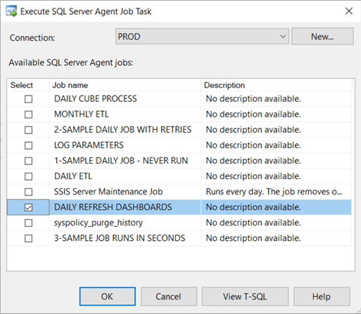 Configure Execute SQL Server Agent Job Task