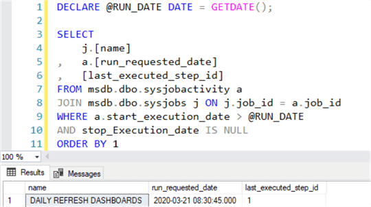 Query to show SQL Server AGent jobs running