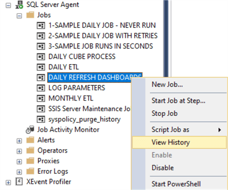 View SQL Server Agent job history in SQL Server Management Studio