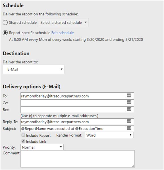 Setup report subscription schedule and delivery options