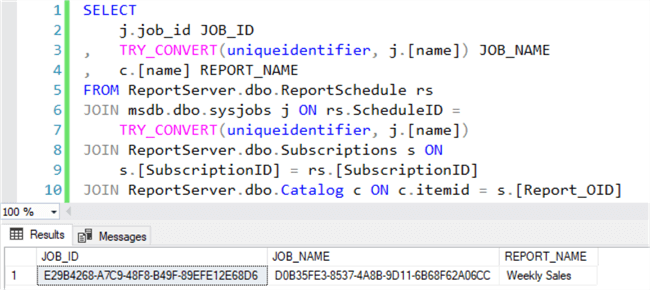 Query to show pertinent data about report subscriptions and SQL Server Agent jobs
