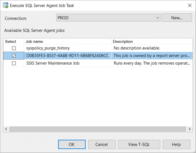 Configure Execute SQL Server Agent Job Task to execute SSRS report subscription