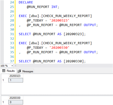 Sample code to test the CHECK_RUN_WEEKLY_REPORT stored procedure