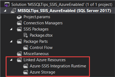 project created, linked Azure resources are added