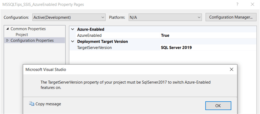 targetserverversion 2019 is not supported