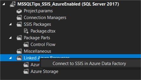 connect to ssis in adf