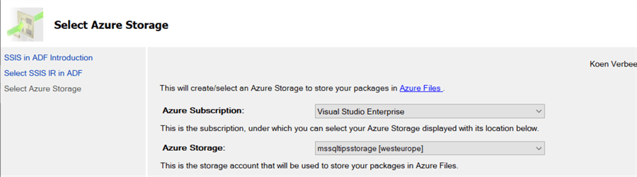 configure Azure storage connection