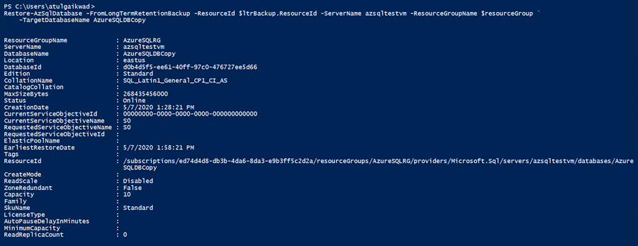 Run the DB restore Powershell command