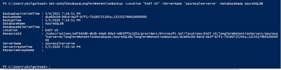 Verify if the LTR Backup is available from Powershell after Instance deleted