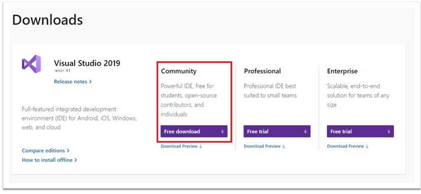 Select Community Edition of Visual Studio 2019