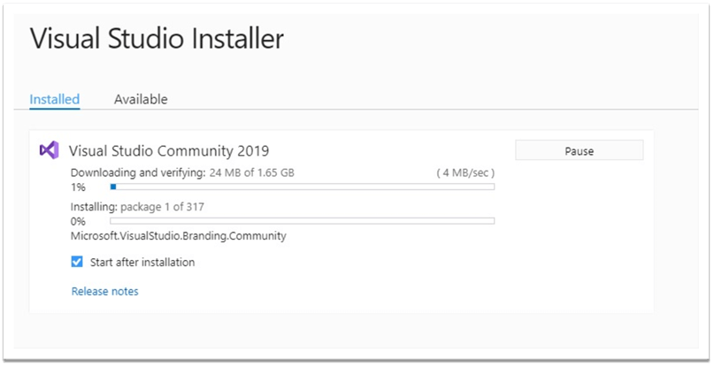 Visual Studio Community 2019 Installer Progress