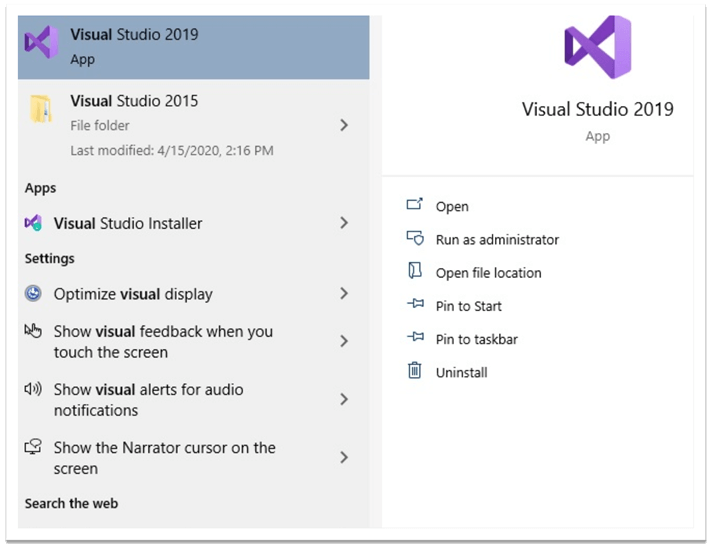 Start Visual Studio Community 2019 Edition