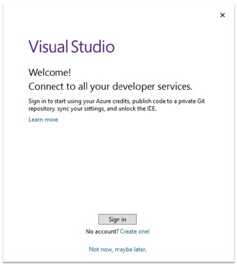 Connect all developer services in Visual Studio Community 2019 Edition