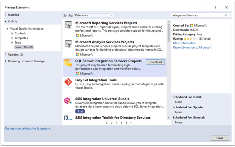 Find SQL Server Integration Services Projects in Visual Studio Community 2019 Edition