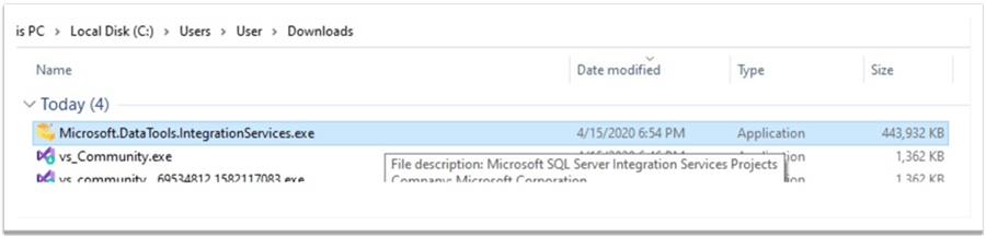 Execute SQL Server Integration Services Executeable File for Visual Studio Community 2019 Edition