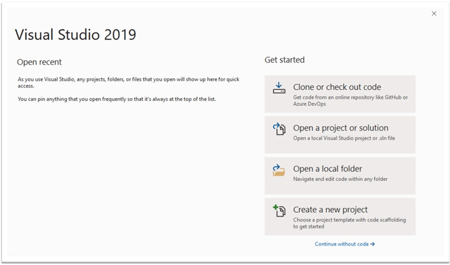 Create New Project in Visual Studio Community 2019 Edition