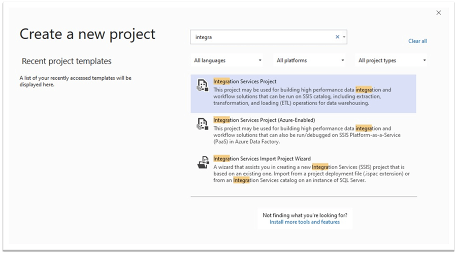Create New SQL Server Integration Services Projects in Visual Studio Community 2019 Edition