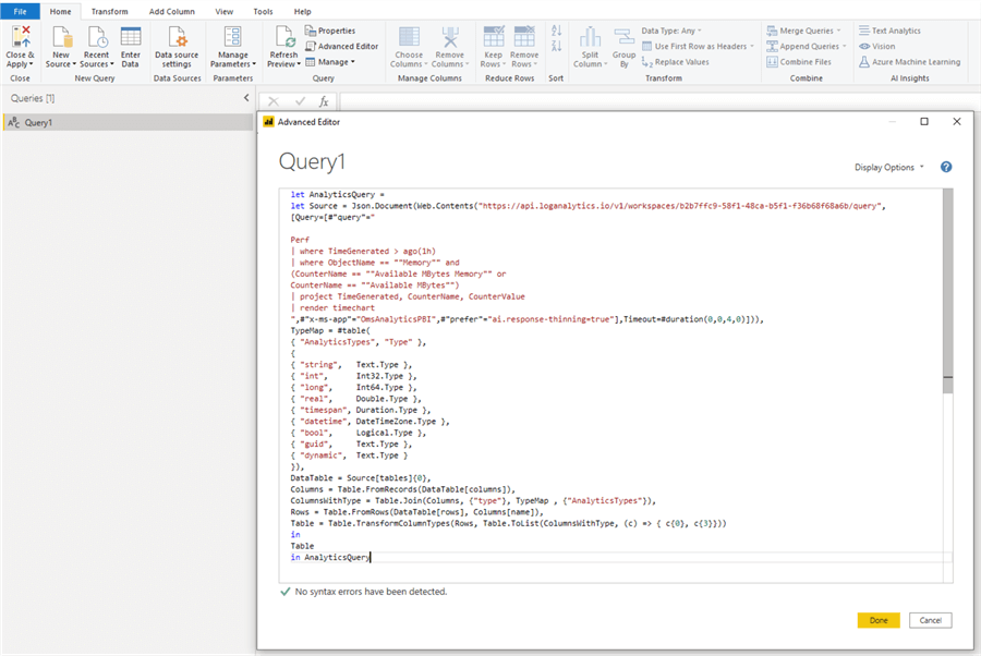 M query pasted in Advanced Editor.