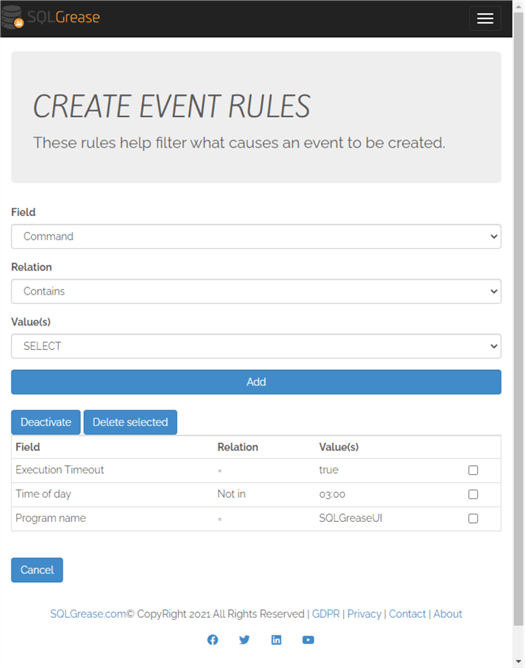 SQL Grease Create Event Rules