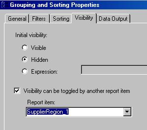 toggle visibility setting for grouping and sorting in ssrs