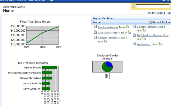 building a dashboard in sql server reporting services