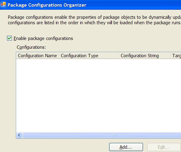 SQL Server Integration Services SSIS Package Configuration