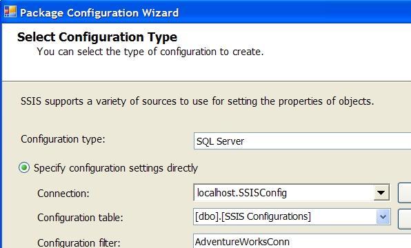SQL Server Integration Services SSIS Package Configuration