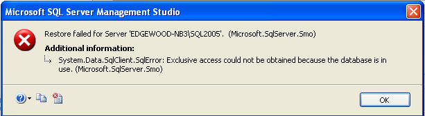 sql server error exclusive access