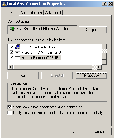 Accessing the TCP/IP protocol properties