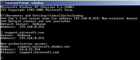DNS information for support.microsoft.com