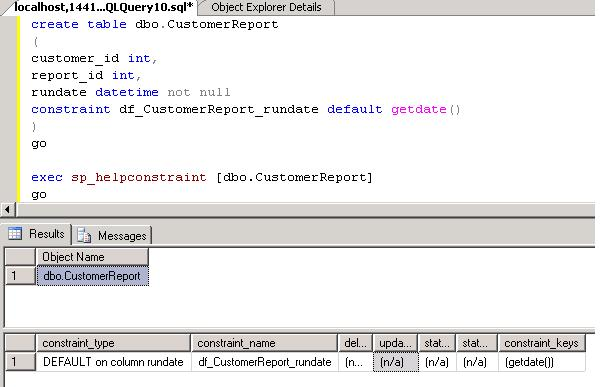 Working with DEFAULT constraints in SQL Server