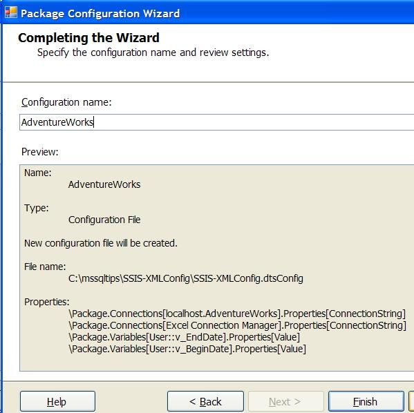 Using XML Package Configurations with Integration Services SSIS