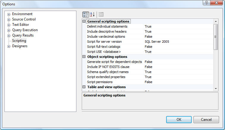 ssms scripting options