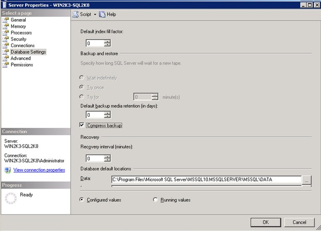 Exploring Database Backup Compression in SQL Server 2008