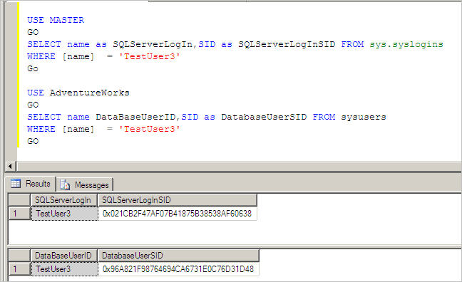 sql server login and used database differ