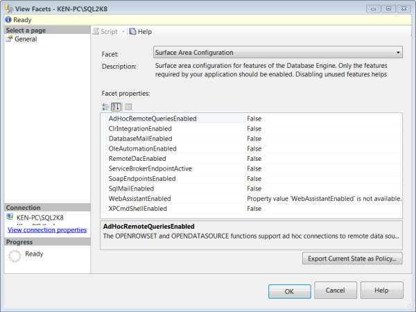 Where is the Surface Area Configuration tool in SQL Server 2008
