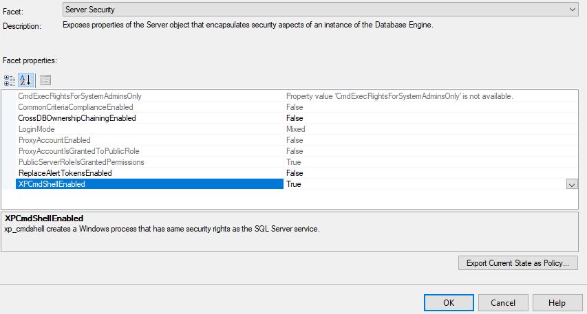 Enabling xp_cmdshell in SQL Server