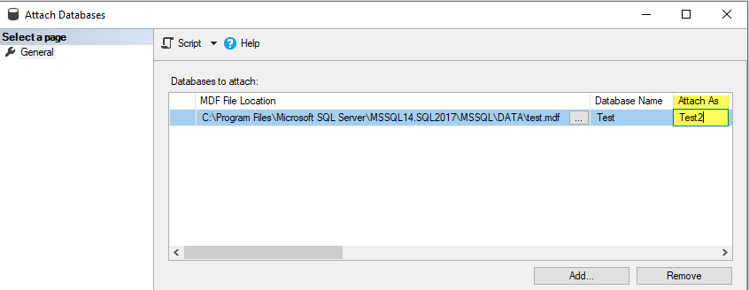 attach database using ssms