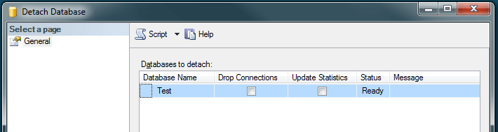 detach database using ssms