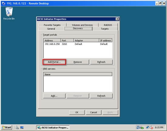 how to connect iscsi initiator to another server