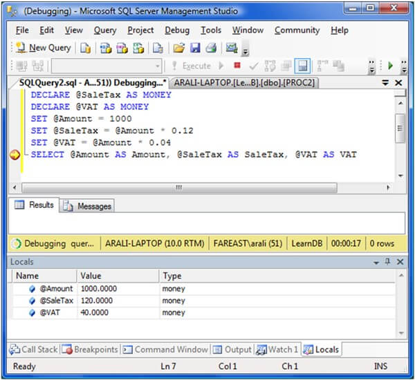 SQL Server 2008 TSQL Debugger is back in SSMS