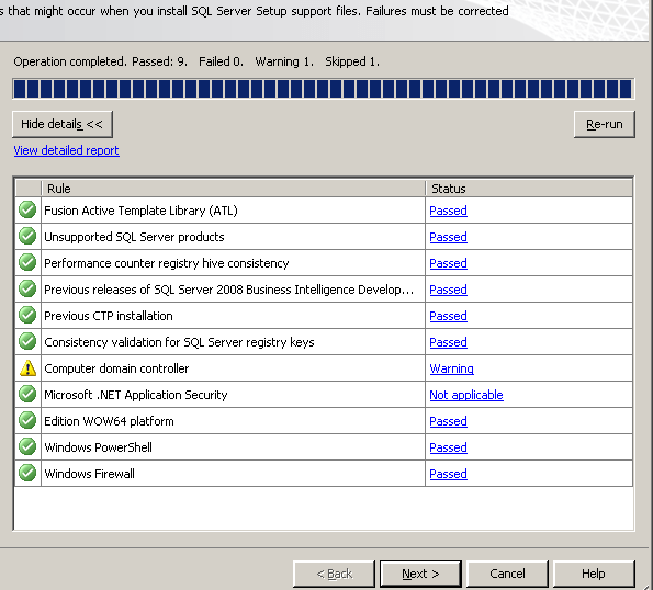 Result of the System Configuration Checker after the SQL Server Support files are installed