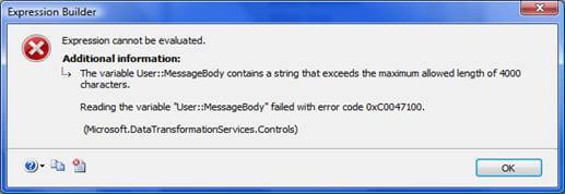 ssis expression builder error