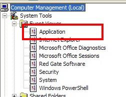 Computer Management - App Event Log