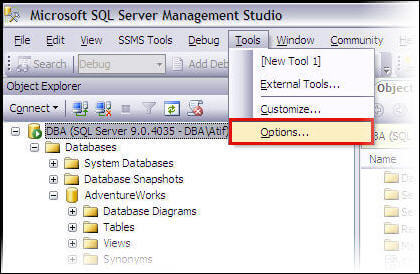 Accessing the Option in SSMS  to prevent changes that require table re-creation