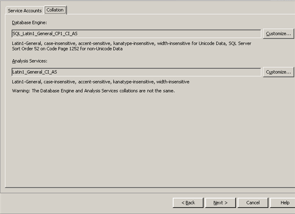 Collation configuration for SQL Server 2008