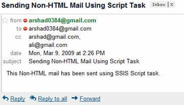 ssis send email text format